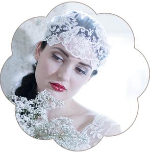 Vintage-Cap aus Spitze. Vintage Kopfschmuck in Ivory. 20er Jahre Haarschmuck. 20ies Headpiece wedding. Lace cap for the boho look.