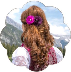 Haarblüte Haarclip Haarschmuck klein mit Trachten Deko Herz. Seidenblüte-  Haarclip Oktoberfest, Tracht, Hochzeit, Sommerfest, Waldfest. Blüten Haarclip Wiesen.
