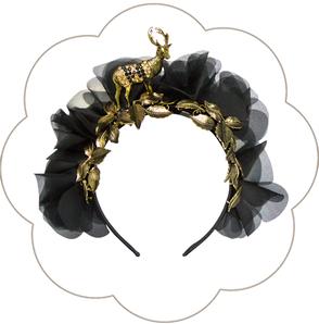 Blüten Haarreif mit Hirsch Trachten Deko. Seidenblüten Haarkranz Oktoberfest, Tracht, Sommerfest, Waldfest. Blütenhaarkranz.