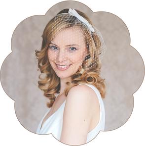 Schleier - Haarreifen mit Schleife Seide für die Braut. Fascinator, Birdcage, Veil wedding.