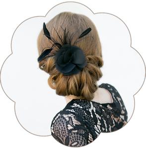 Feder-Haarblüten-Haarschmuck in Schwarz für Gala, Abschlussball, Hochzeiten, Feste, Oper, Dinner-Party.