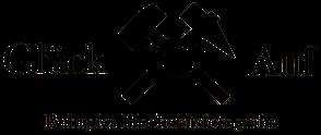 Hochzeitsfotograf aus dem Ruhrgebiet. Ruhrpics Logo Glück Auf. Hammer und Schlägel, Kamera. Hochzeitsfotografie Matthias Tiemann