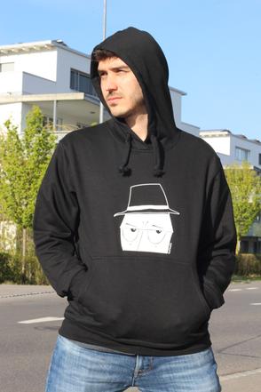 leichtes Kapuzensweatshirt schwarz mit weissem Aufdruck von bachbetti.ch