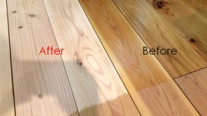 無垢の床 再生研磨 施工前/施工後