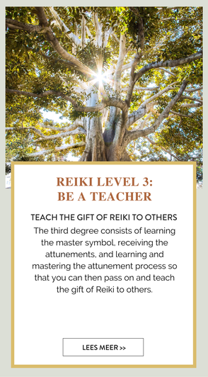 TEACH THE GIFT OF REIKI TO OTHERS  The third degree consists of  learning the master symbol, receiving the attunements, and learning and mastering the attunement  process so that you can then pass on and teach the gift of Reiki to others.  ​