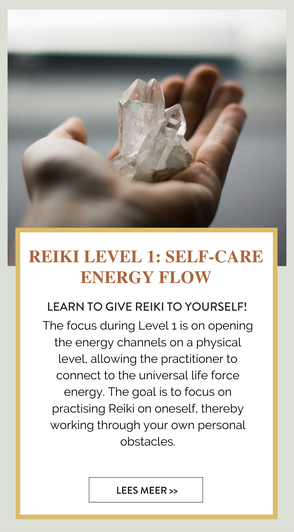 Reiki level 1. HEAL YOURSELF  The focus during Level 1 is on opening the energy channels on a physical level, allowing the practitioner to connect to the universal life force energy. The goal is to focus on practising Reiki on oneself.