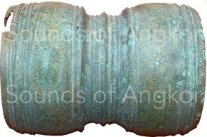 Hourglass rattle drum found in the Banteay Chhmar area. Vat Reach Bo, Siem Reap. Ref. 2007-1-2130 + 2132.