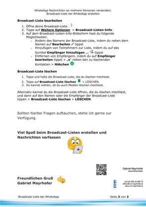 WhatsApp Nachrichten mittels einer Broadcast-Liste an mehrere Personen versenden