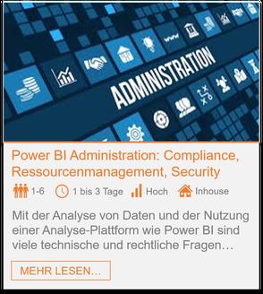 Training - Power BI Administration: Compliance, Ressourcenmanagement, Security