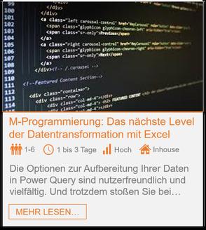 Training - Power Query M-Programmierung: Das nächste Level der Datentransformation in Excel
