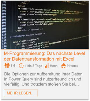 Training - Power Query M-Programmierung: Das nächste Level der Datentransformation in Excel