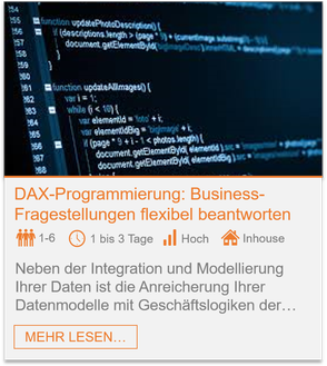 Training - Power BI DAX-Programmierung: Business-Fragestellungen flexibel beantworten