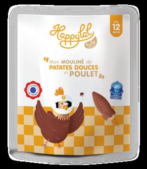 Repas complet à la viande de poulet pour bébé de 12 mois, halal et bio, fabriqué en France