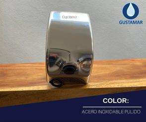 COLOR ACERO INOXIDABLE: SECADOR DE AIRE PARA MANOS ÓPTICO CYCLONE VERTICAL ACERO INOXIDABLE CO2PV