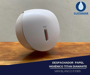 DISPENSADOR DE PAPEL HIGIÉNICO TITAN BLANCO MINI DIAMANTE 51065