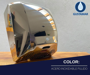 COLOR ACERO INOXIDABLE PULIDO : SECADOR DE AIRE PARA MANOS ÓPTICO CYCLONE CO4P