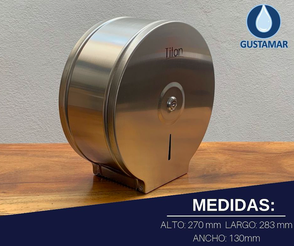 MEDIDAS DEL DISPENSADOR DE PAPEL HIGIÉNICO TITAN MINI ACERO INOXIDABLE