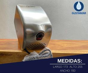 MEDIDAS: SECADOR DE AIRE PARA MANOS ÓPTICO CYCLONE SATINADO ACERO INOXIDABLE CO2SV