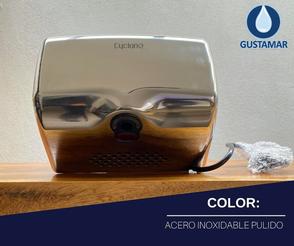 COLOR ACERO INOXIDABLE PULIDO: SECADOR DE AIRE PARA MANOS ÓPTICO CYCLONE HORIZONTAL CO2PH