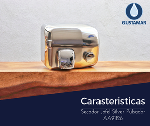 CARACTERÍSTICAS DEL SECADOR DE AIRE PARA MANOS / SECAMANOS JOFEL SILVER PULSADOR AA91126