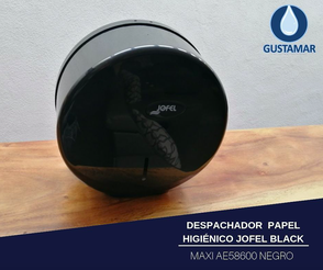 DISPENSADOR DE PAPEL HIGIÉNICO JOFEL MAXI BLACK - NEGRO AE58600