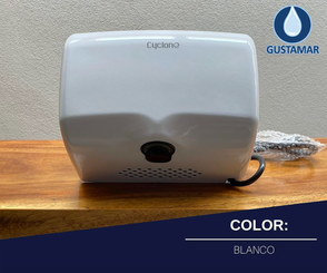 COLOR BLANCO: SECADOR DE AIRE PARA MANOS ÓPTICO CYCLONE HORIZONTAL CO2BH