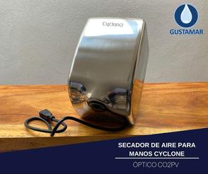 SECADOR DE AIRE PARA MANOS ÓPTICO CYCLONE VERTICAL ACERO INOXIDABLE CO2PV