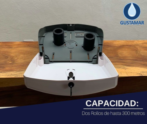CAPACIDAD DEL DISPENSADOR DE PAPEL HIGIÉNICO DOBLE TITAN 8003W BLANCO