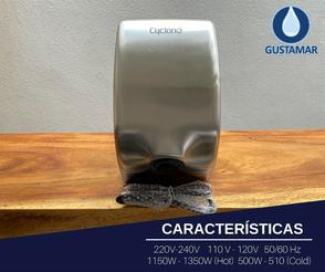 CARACTERÍSTICAS: SECADOR DE AIRE PARA MANOS ÓPTICO CYCLONE SATINADO ACERO INOXIDABLE  CO2SV