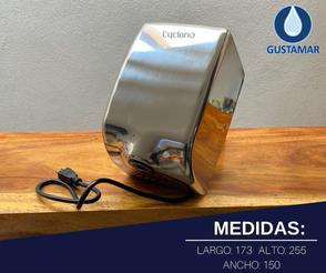 MEDIDAS: SECADOR DE AIRE PARA MANOS ÓPTICO CYCLONE VERTICAL ACERO INOXIDABLE CO2PV