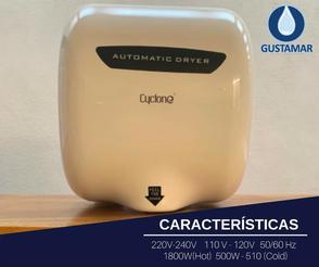 CARACTERÍSTICAS DEL SECADOR DE MANOS / SECAMANOS CYCLONE TIPO XLERATOR CO3B