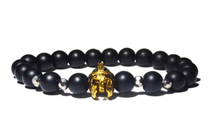 bracelet homme noir gladiateur or