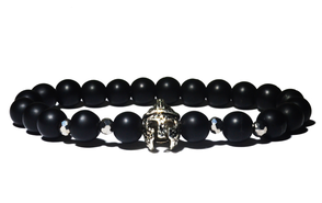 bracelet homme noir gladiateur argenté