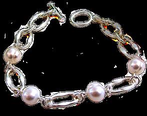 Perles de culture baroques blanches sur lit d' argent, bracelet Théa