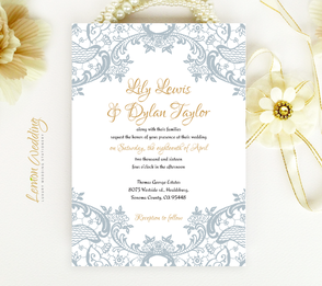 silver wedding invitations with lace
