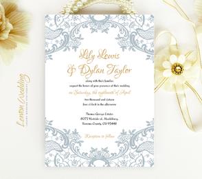 wedding invatations | gray lace