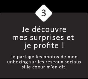 3 : Je découvre mes surprises et je profite !