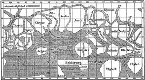 """""""Karte der Marskanäle nach Giovanni Schiaparelli (wikipedia, Meyers Konversations-Lexikon, 1888. Durch Ablauf der Urheberrechte gemeinfrei)"""