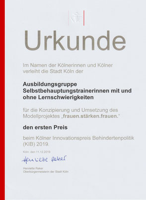 Die Urkunde über den 1.ten Preis beim Kölner Innovationspreis Behindertenpolotik (KIB) 2019