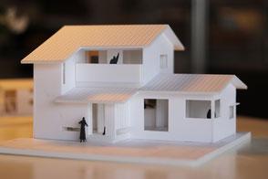 真備町の住宅の模型写真