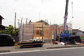倉敷市連島町の平屋住宅の上棟写真
