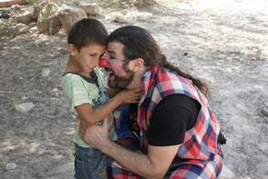 Iván Prado durante el Festiclown Palestina