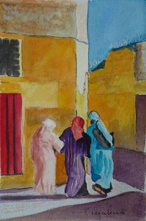 Maroc, Algérie, orient, orientaliste, peintre, femmes, marocaines, médina, aquarelle, peinture,