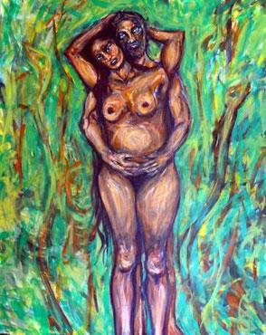 Der legendäre Vater der Mestizen, Gonzalo Guerrero und seine Ehefrau Zazil Há dargestellt als nackte Naturmenschen  in einer Dschungel-Landschaft von zwei Schlangen (Lebensbegleitern) umgeben