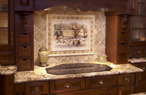 Travertine backsplash with a mural