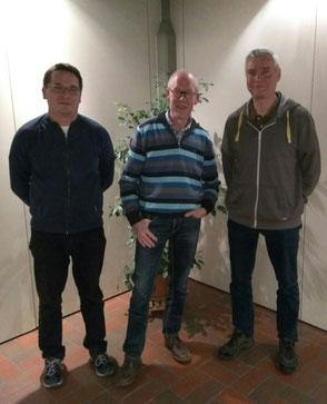 v.l.n.r.: Schriftführer Christoph Türks, Vorsitzender Karl-Heinz Thomas, Schatzmeister Günter Moers