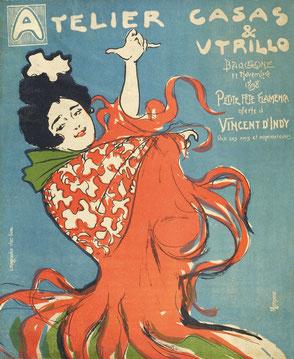 Adrià Gual: Atelier Casas & Utrillo. Petite fête flamenca oferte à Vincent d'Indy par ses amis et admirateurs, 11 novembre 1898 Litografia a colori, cm 29 x 24 Barcellona, MAE, Institut del Teatre