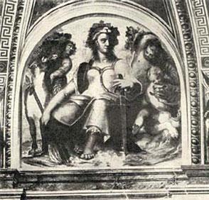 """Figure allégorique de la Corse (travail du peintre Raphaël) dans une salle du Vatican. (16eme siècle) L'inscription """"Cyrniorum fortia bello pectora""""  signifie """"Les Corses aux coeurs intrepides pour le combat"""""""