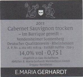 Etikett 2011er Cabernet Sauvignon trocken - im Barrique gereift -