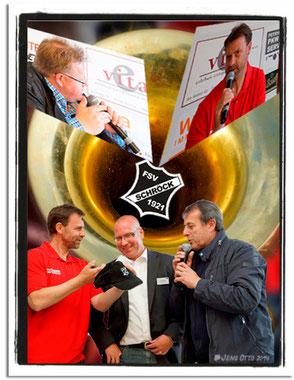 Manfred Binz mit Dirk Debelius und Lothar Luzius vom FSV Schröck